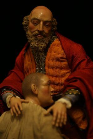 Presepe di New York - particolare del ritorno del figliuol prodigo (da Rembrandt)