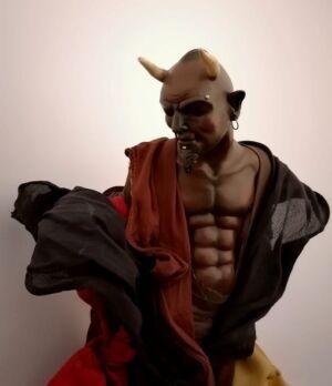 0323 Diavolo nero (particolare) - h 30 cm